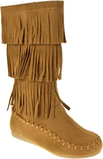 Amazon.com | Girls 5 layered Moccasin Fringe Boots Tan | Boots