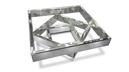 Mobiliermoss Fizuli Table Basse Miroir Et Verre Argent