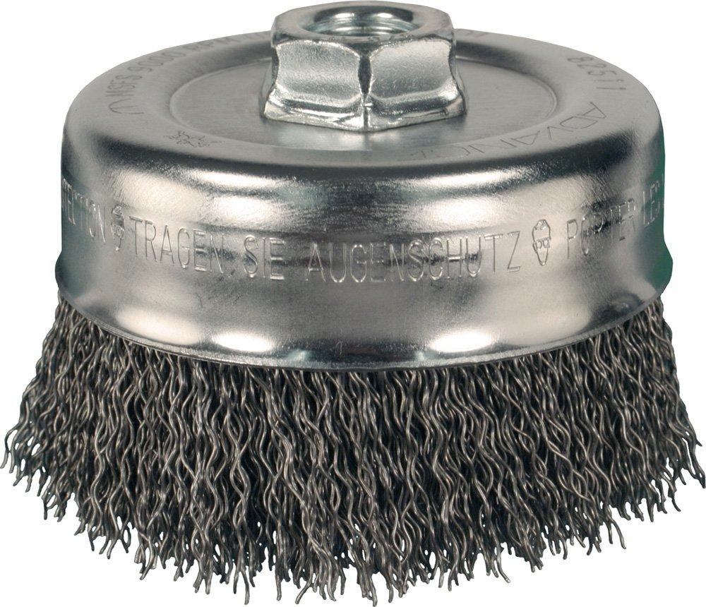 PFERD 82511 Power Crimped Cup Wire Brush, Threaded Hole, Carbon Steel Bristles, 4'' Diameter, 0.020'' Wire Size, 5/8''-11 Thread, 9000 Maximum RPM