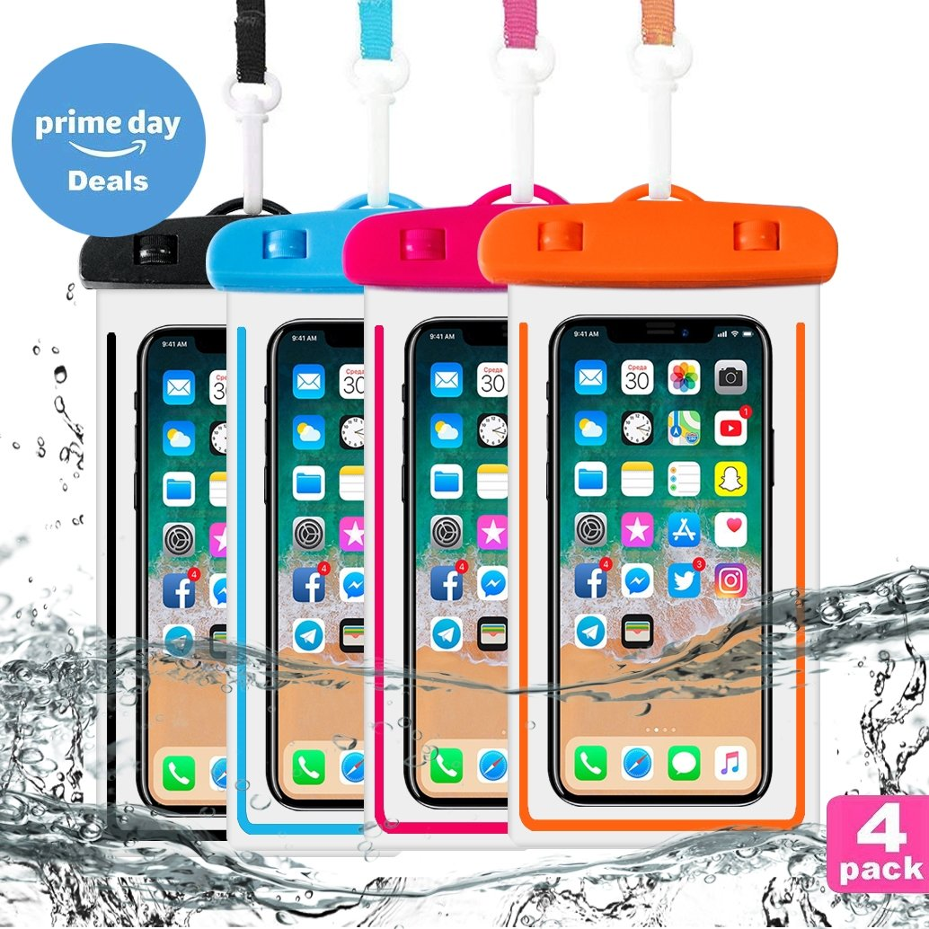 4-Pack Universal Waterproof Case,IPX8 Waterproof Phone Pouch Dry Bag for iPhone X/8/8plus/7/7plus/6s/6/6s plus Samsung galaxy s8/s7 Google Pixel HTC10 (Blue)