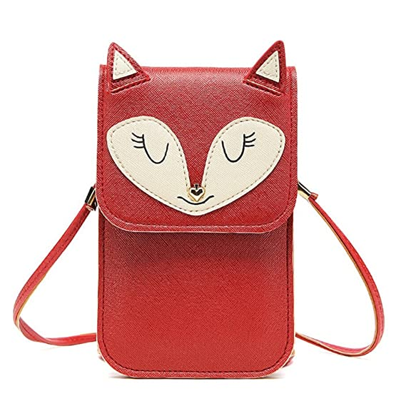 b0b15fa489 Universal Multipurpose Cute 3D Red Fox Design Synthetic Leather Wallet  Crossbody Cell Phone Bag Mini Pouch