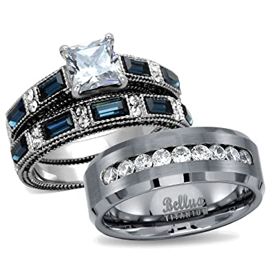 Amazoncom His Hers Wedding Ring Sets Womens Stainless Steel