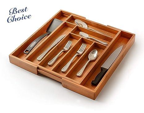 Amazon.com: Organizador de bambú para cajones de cocina ...