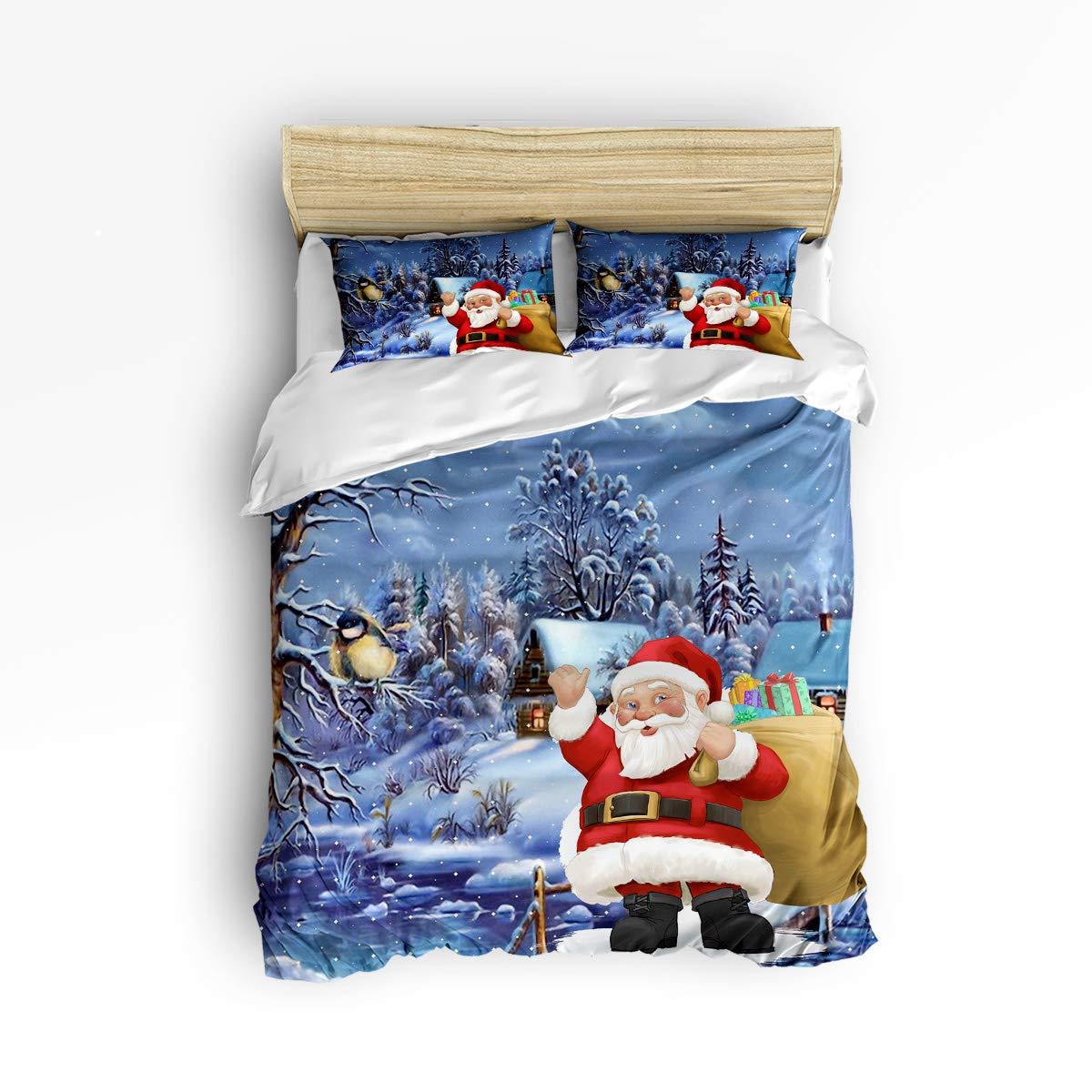 EZON-CH ソフト 子供用 掛け布団カバーセット ティーンキッズ 女の子 男の子 可愛いサンタクロース メリークリスマス 雪のパターン 寝具セット 掛け布団カバー1枚と枕カバー2枚付き Queen Size 181110WHLEZONWHLSJTSLXM01688SJSCEZN B07KDC7Z22 Christmas766lezn0561 Queen Size
