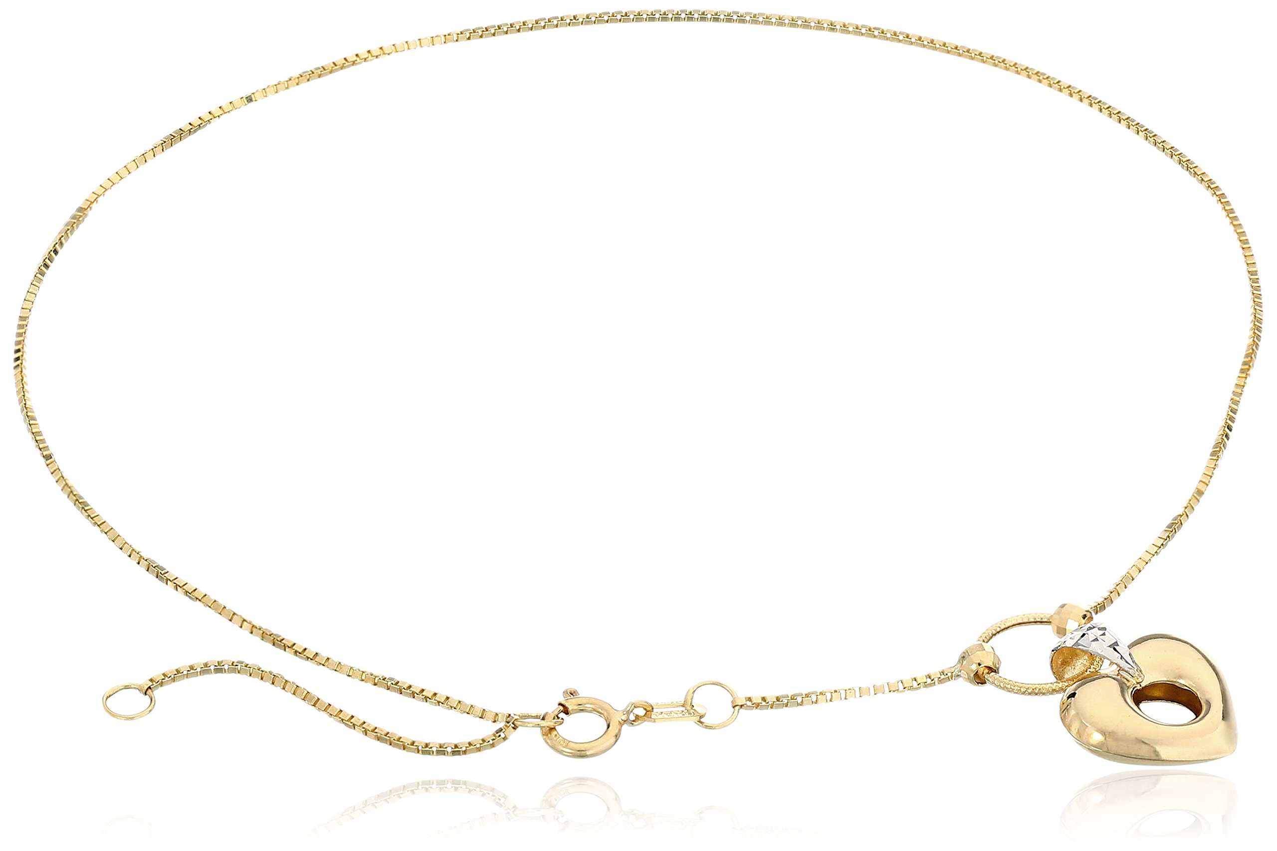 10k Yellow Gold Open Puff Heart with Rhodium Anklet