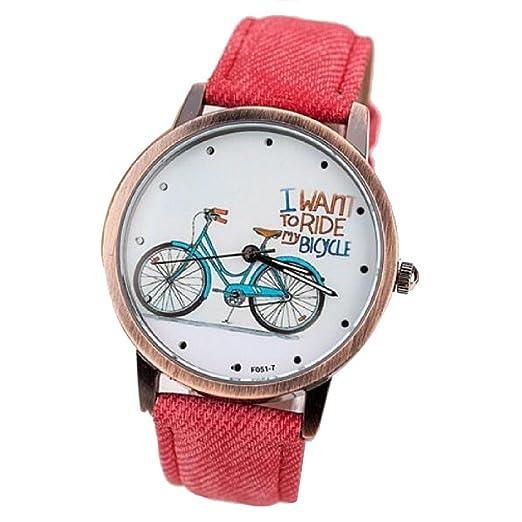 Moda bicicleta de las mujeres niñas estudiantes relojes Vintage Casual reloj de pulsera cuarzo reloj rojo