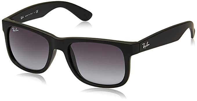 ray ban justin rubber black frame grey gradient lenses 51mm non polarized