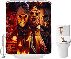 Halloween Shower Curtain Set for Bathroom- Scary Killer Freddy Jason Michael, Horror Movie Themed Holiday Polyester Fabric Decoration with Hooks and Toilet Stickers, Christmas Party Decor 72x72