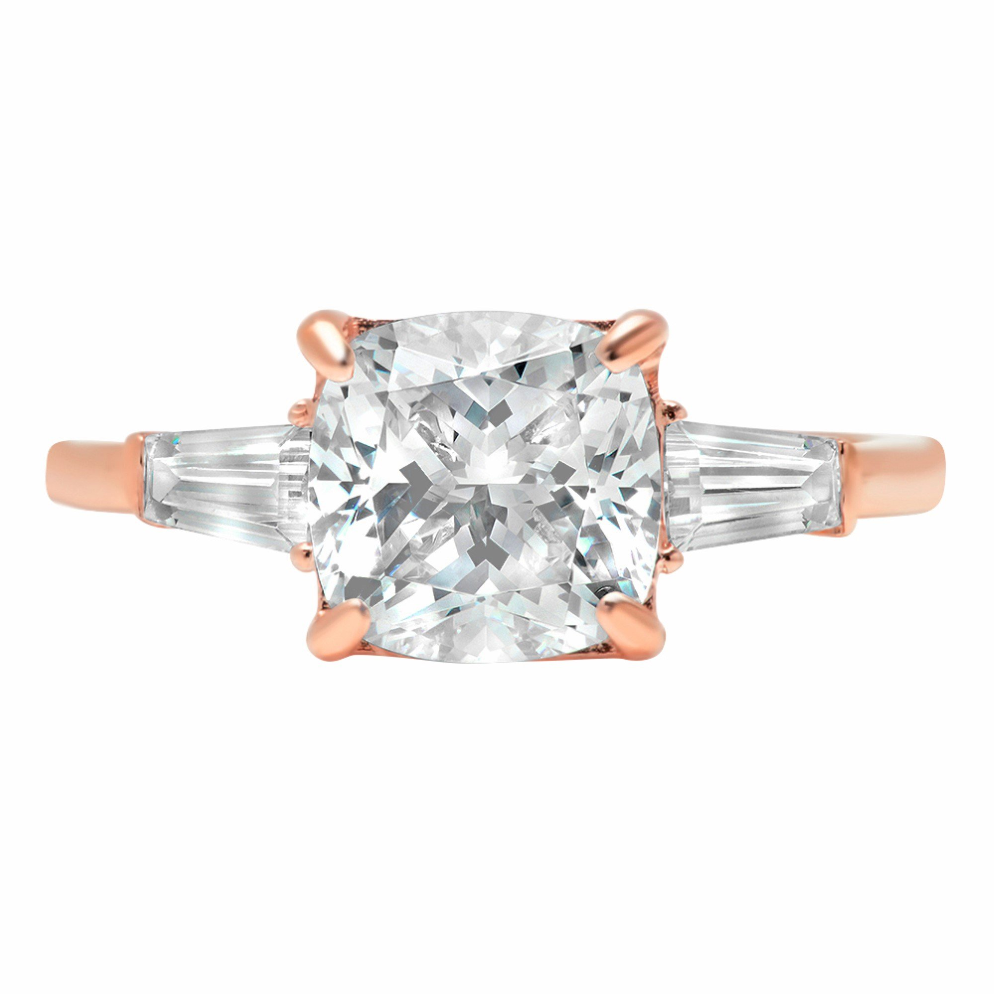 Radiant Baguette 3-Stone Classic Solitaire Designer Wedding Bridal Statement Anniversary Engagement Promise Ring 14k Rose Gold, 3.7ct, 4.75 by Clara Pucci