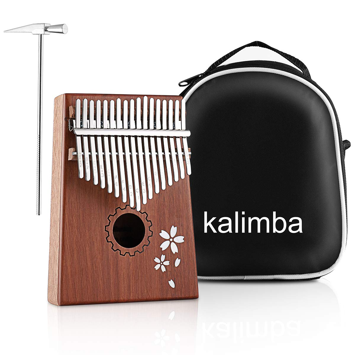 MINGPINHUIUS Kalimba 17 Key Thumb Piano, Mbira Thumb Drive with Bag and Instruction Songbook Portable Musical Instrument for Kids, Friends,Beginners,Music Lovers (Cherry blossom) by MINGPINHUIUS