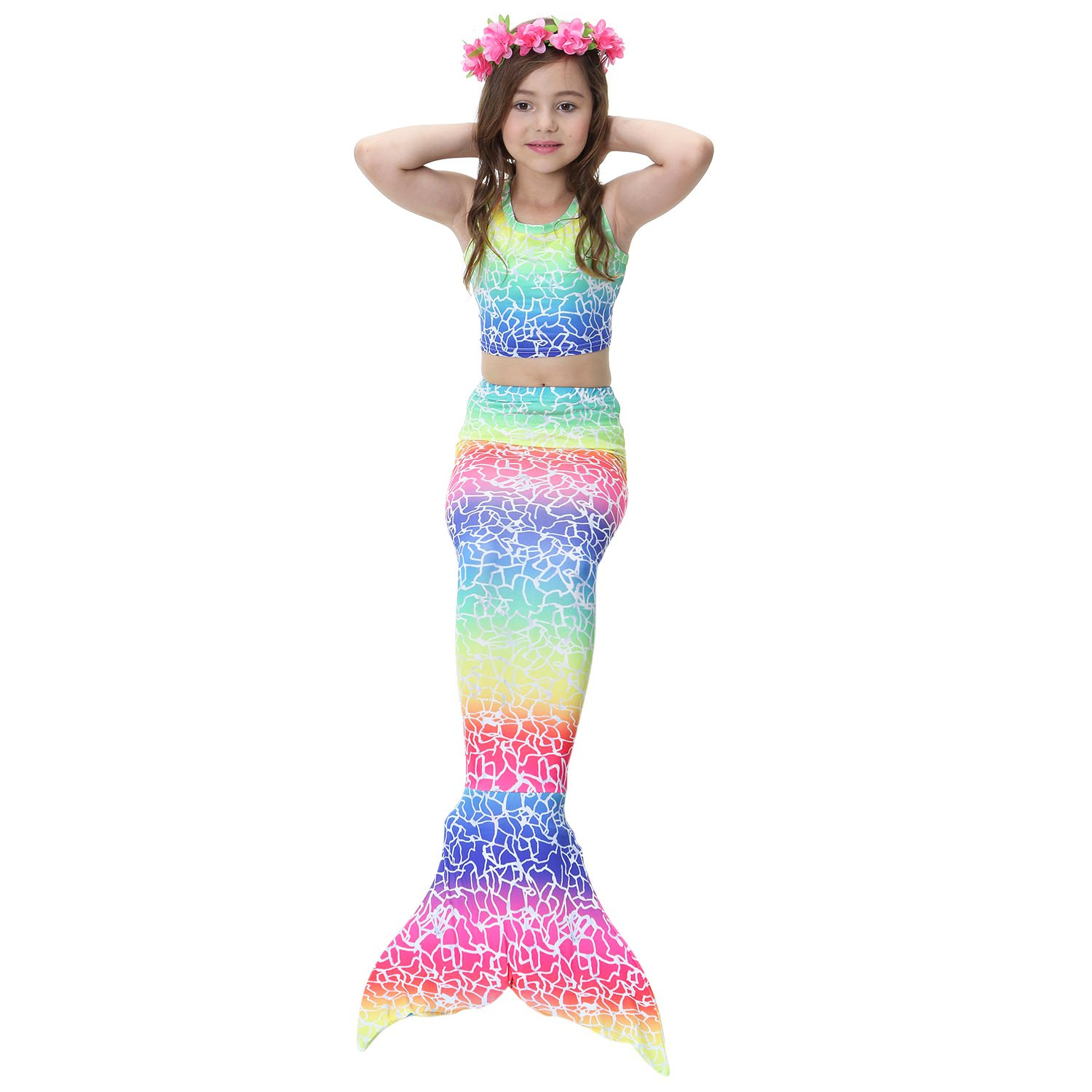 Wet//Dry Outfit for Kids and Adult 3 Piece Mermaid Tail Swimsuit with Removable Fin Included Monofin and Flower Headband