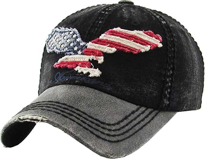 dd7816176b6 KBVT-608 BLK Eagle Vintage Distressed Dad Hat Baseball Cap Adjustable