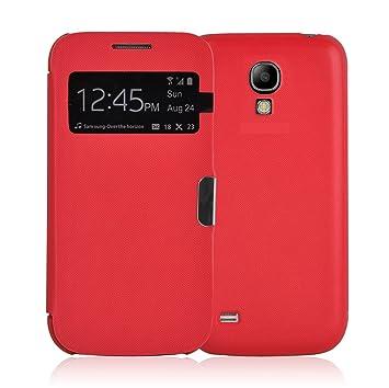 Galaxy S4 Carcasa, JAMMYLIZARD Funda Flip Cover Case [Smart View] Con Tapa Cierre Magnético Para Samsung Galaxy S4, ROJO