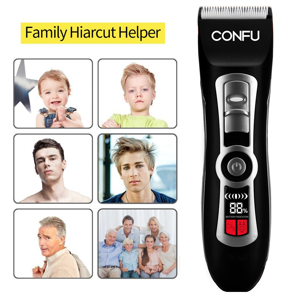 Hair Clippers CONFU Cordless Professional Hair Trimmers with LCD Display Washable USB Rechargeable Hair Cutting Kit with 4 Guide Comb Grooming Kit for Barber Shop or Home Suit
