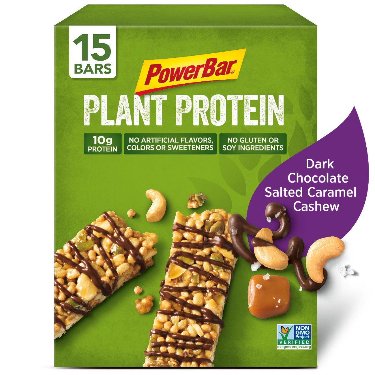 PowerBar Plant Protein Bar, Dark Chocolate Salted Caramel Cashew, 15 Count, Pack of 1 by Powerbar (Image #1)