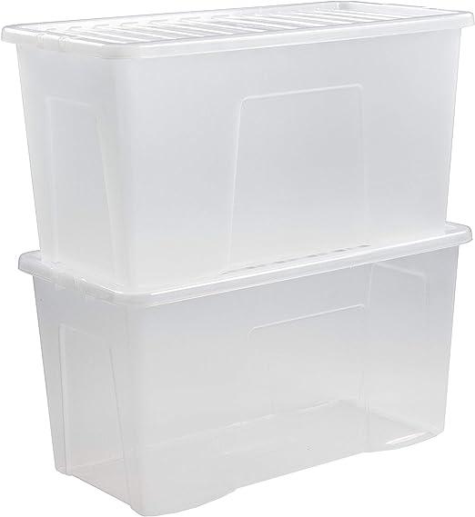 110 litros JMS® tamaño grande de plástico caja de almacenaje con ...