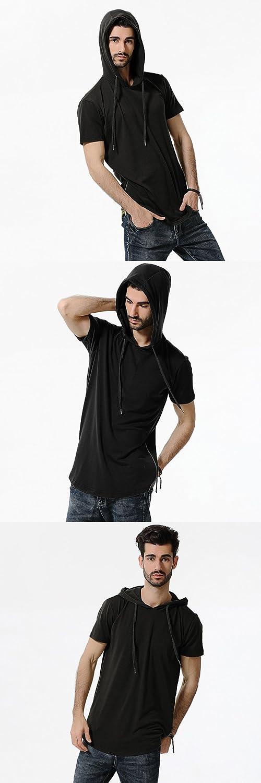 NiuZi Mens Hipster Hip Hop Longline Curved Hem Short Long Sleeve Camouflage Pullover Hoodie Zipper T-Shirt