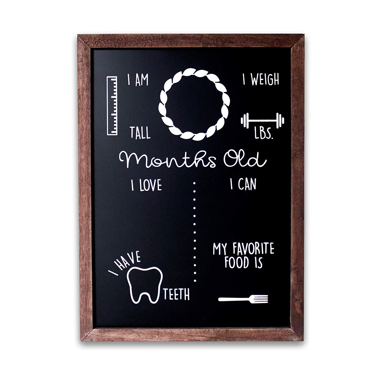 """Olive & Emma Baby Monthly Milestone Chalkboard   12"""" x 16"""" Wood Framed Reusable Baby Photo Prop Board   New Mom Baby Shower Gift"""