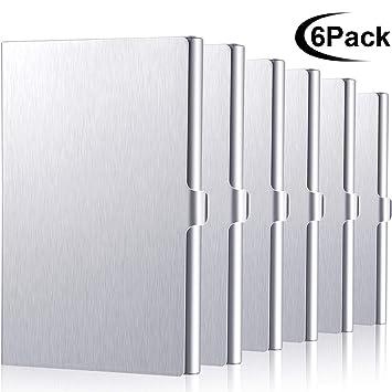 6 Piezas de Estuche para Tarjetas de Visita de Aluminio, Tarjetero de Crédito para Hombres y Mujeres (6 Plateado)