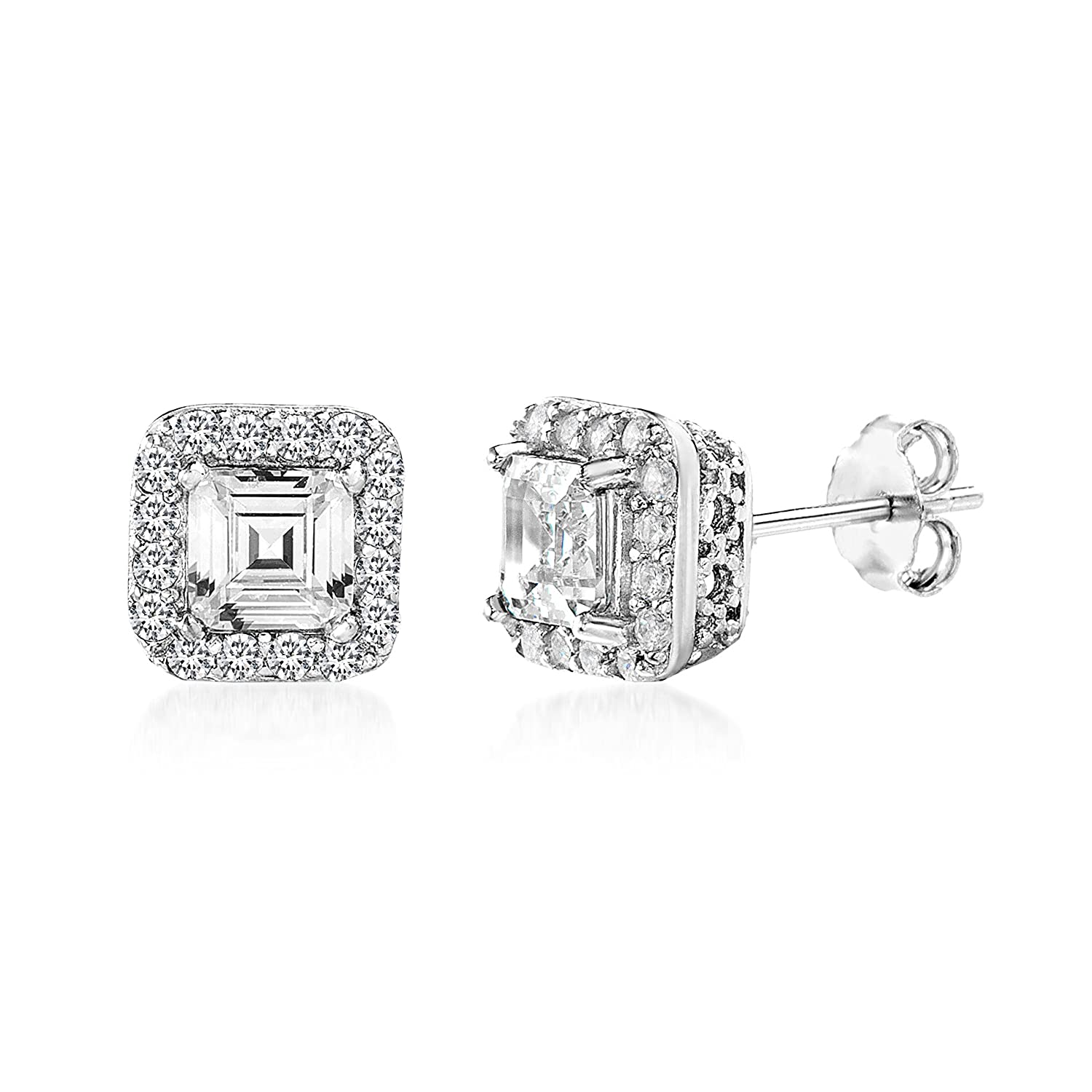 c23ef1252 Amazon.com: MIA SARINE 1-1/2 Cttw Square Emerald Shaped Cubic Zirconia Stud  Bridal Gift Earrings for Women in Rhodium Plated 925 Sterling Silver:  Jewelry
