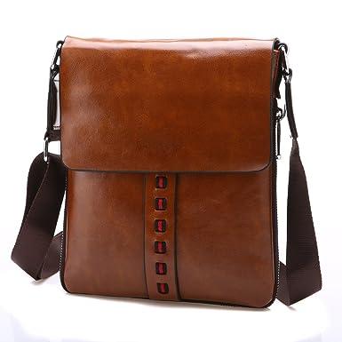 Amazon.com: Vintage Men PU Leather Messenger Bags Crossbody Casual ...