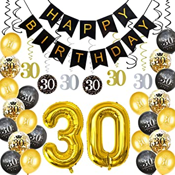 HankRobot 30th Birthday Decorations Party Supplies40pack Gold Number Balloon 30 Happy Banner