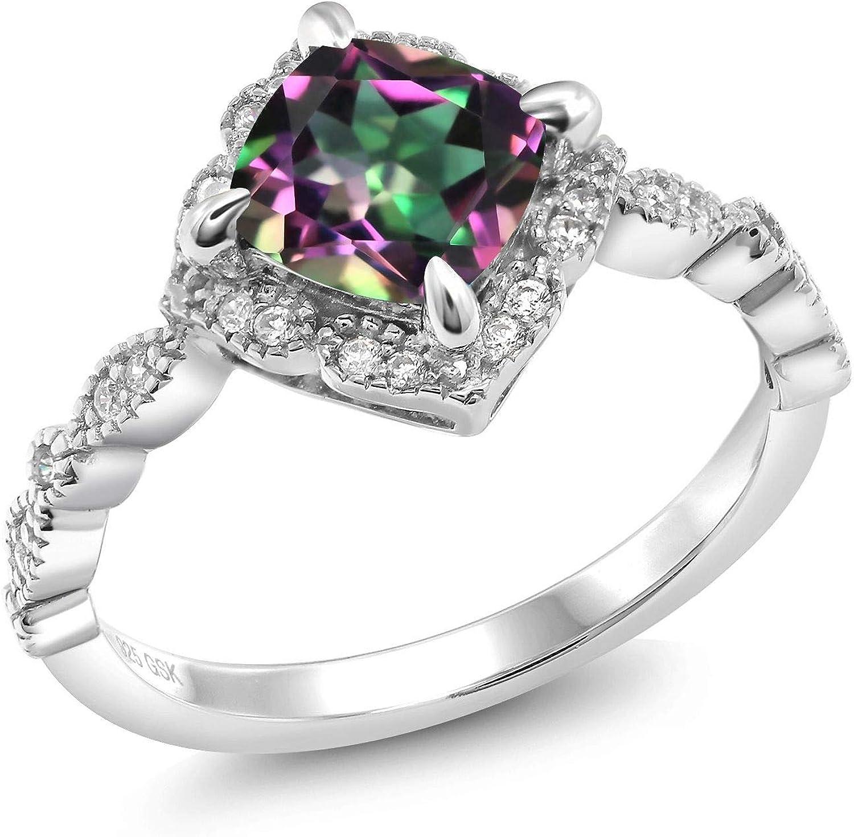 Gemstone Diamond Wedding Engagement 925 Silver Ring  Mystic Rainbow Topaz