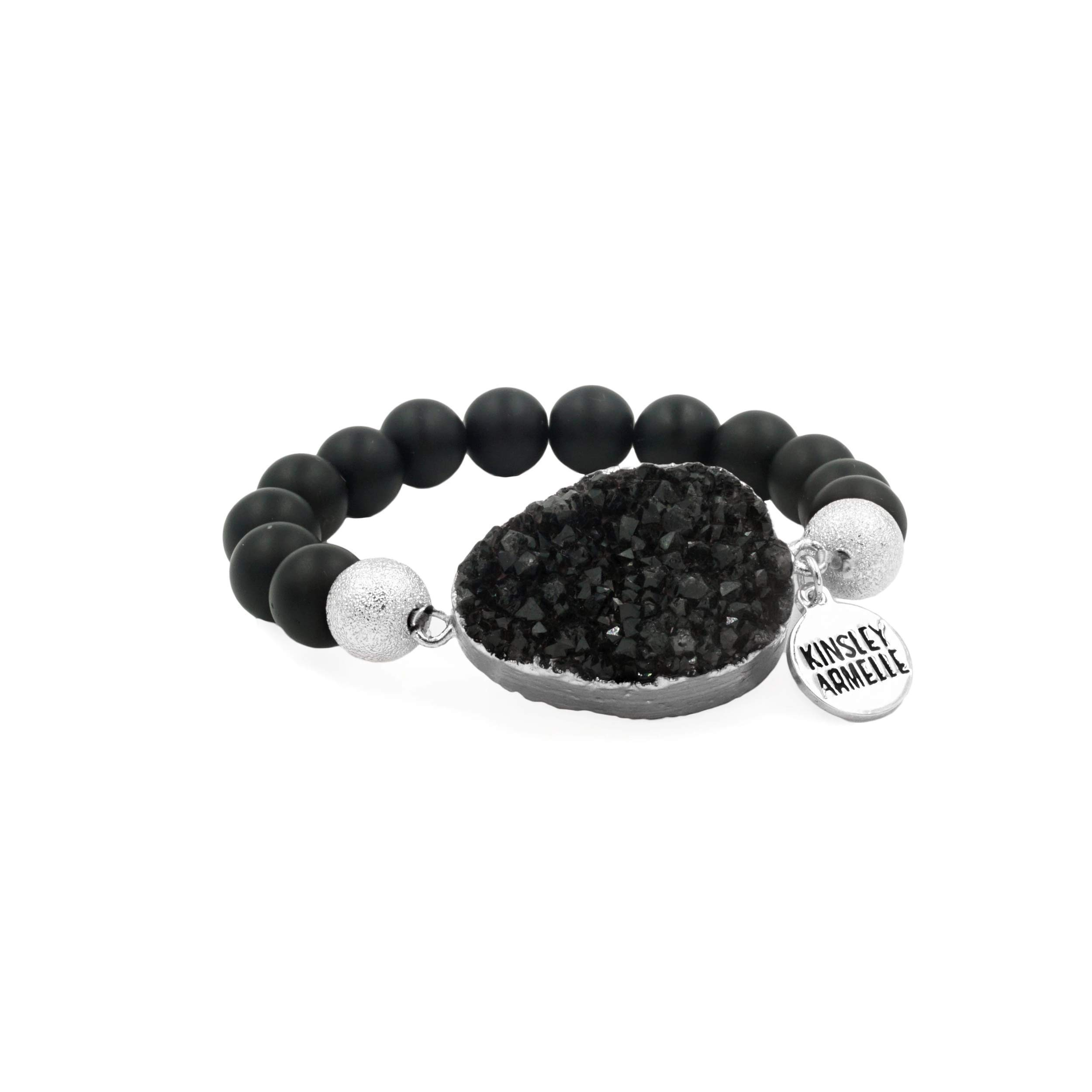 Kinsley Armelle Stone Collection - Silver Coal Bracelet by Kinsley Armelle