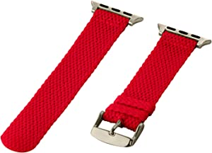 Clockwork Synergy - 2 Piece Perlon Braided Nylon Bands for Apple Watch (38mm Red)
