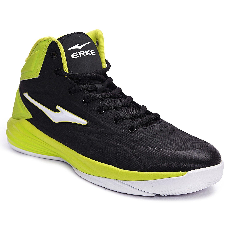 Black-Limegreen Mesh Basketball Shoes