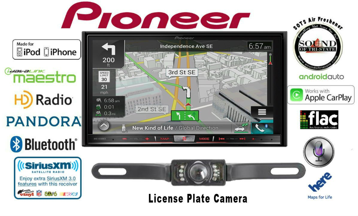 Pioneer AVIC-8200NEX Double Din Navigation Multimedia DVD Receiver with 7'' WVGA Touchscreen w/ Backup Camera and FREE SOTS Air Freshener by Sound of Tri-State
