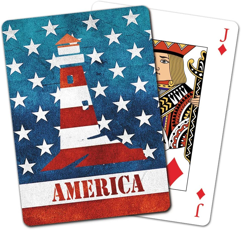 2.5 x 0.8 x 3.5 Inches CD15934 Tree-Free Greetings Deck of Playing Cards Stars /& Stripes Motorcycle