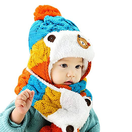 Amazon.com  Baby Girls Boys Hats Winter Warm Cap Hat Beanie Pilot Aviator  Crochet Earflap Cartoon Hats+Scarf 2Sets 1-5 Years Old  Clothing 2c063aa4c903