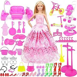 Eligara Set di Accessori e Abbigliamento per Bambola di Moda, Totale 109 Pezzi (1 Abito Rosa Principessa + 108 Accessori), Abito Regalo Adatto a Bambole da 11 Pollici per Compleanno Ragazza