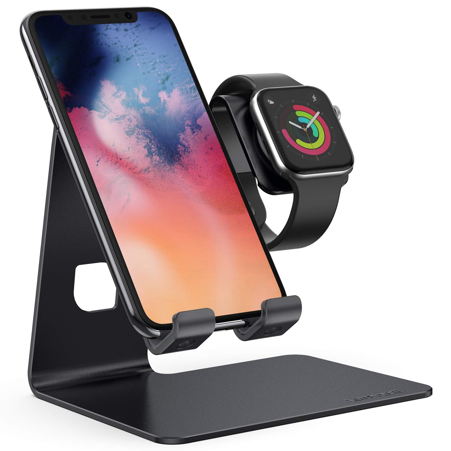 Stand for Apple Watch Phone Holder 2 in 1 : Lamicall Desktop Stand Holder Charging Station Dock Compatible with Apple Watch Series 4/3/2/1,and Phone Xs/X Max/XR/X/8/8Plus/7/7 Plus /6S /6S Plus(Black) by Lamicall