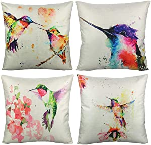 VAKADO 20x20 Inch Hummingbirds Outdoor Throw Pillow Covers Birds Floral Watercolor Painting Spring Flowers Decorative Cushion Cases Home Decor for Patio Couch Furniture Bed Sofa Set of 4