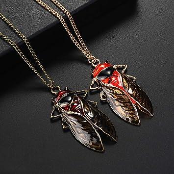 Idiytip Retro Insekten Halskette Vintage Insekten Zikade K/äfer Kette Anh/änger Halskette Lange Pullover Kette,Bronze