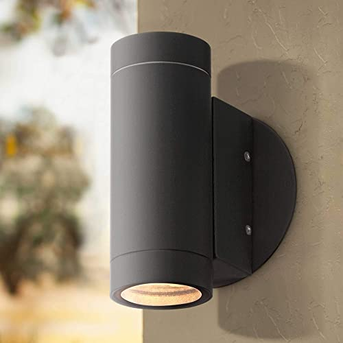 Modern Outdoor Wall Light Fixture Matte Black Cylinder 6 1 2 Tempered Glass Lens Up Down for Exterior House – Possini Euro Design