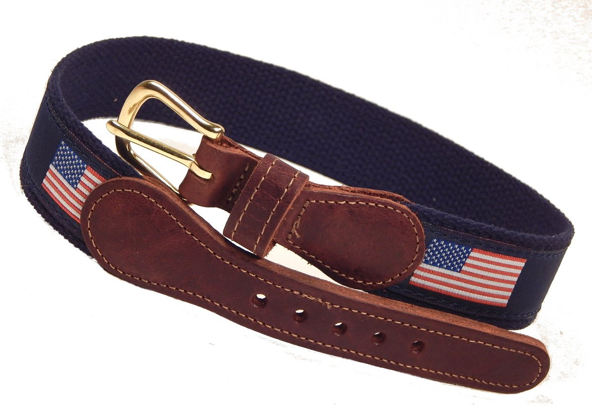 American Flag Belt, Preston Leather, Kids Sizes (20 to 28), Adult (30 to 50), Navy (Size 26)