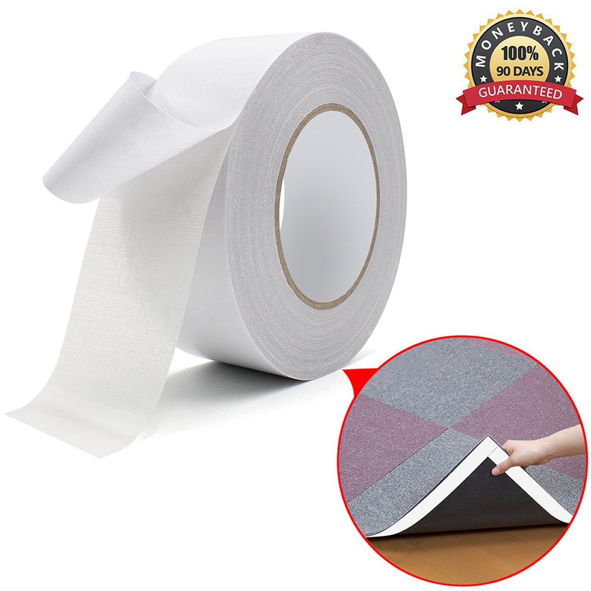 Double Sided Carpet Tape OKPOW Multi-Purpose Removable Rug Tape Anti Slip Non Skid Rug Pad Underlayment Strong Adhesive for Indoor and Outdoor Use 2-Inch x 33 Yards