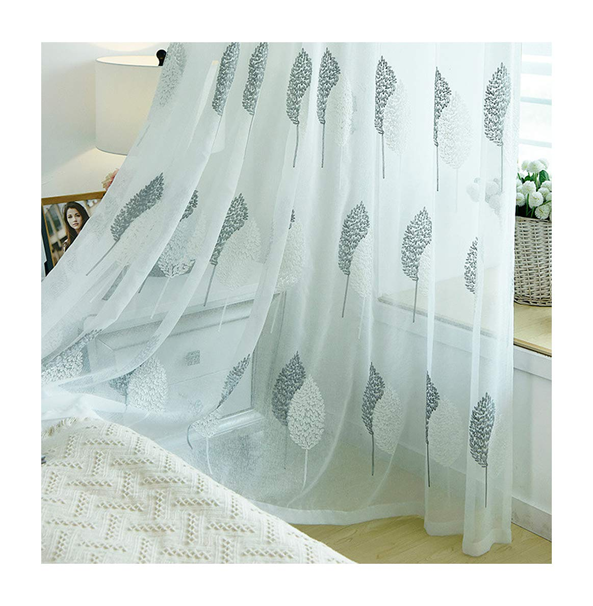 Aside Bside Sheer Curtains Vintage Style Rod Pocket Top Twin Trees Knitting Transparent Window Decoration Houseroom Kitchen Sitting Room (1 Panel, W 50 x L 84 inch, White)