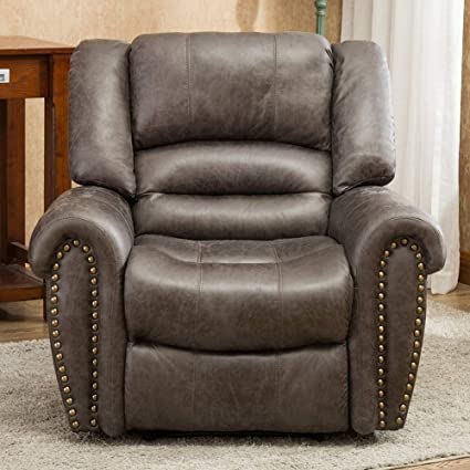 Prime Oversized Leather Cover Recliner Nailhead Lounge Chair For Living Room Smoke Gray Inzonedesignstudio Interior Chair Design Inzonedesignstudiocom