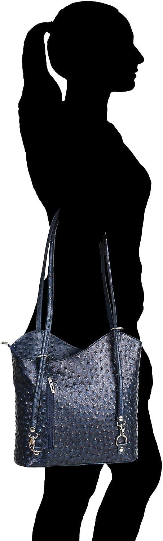 Chicca Borse Femme Sac à bandoulière Motif autruche en cuir véritable made in Italy28x30x9 Cm Bleu Foncé