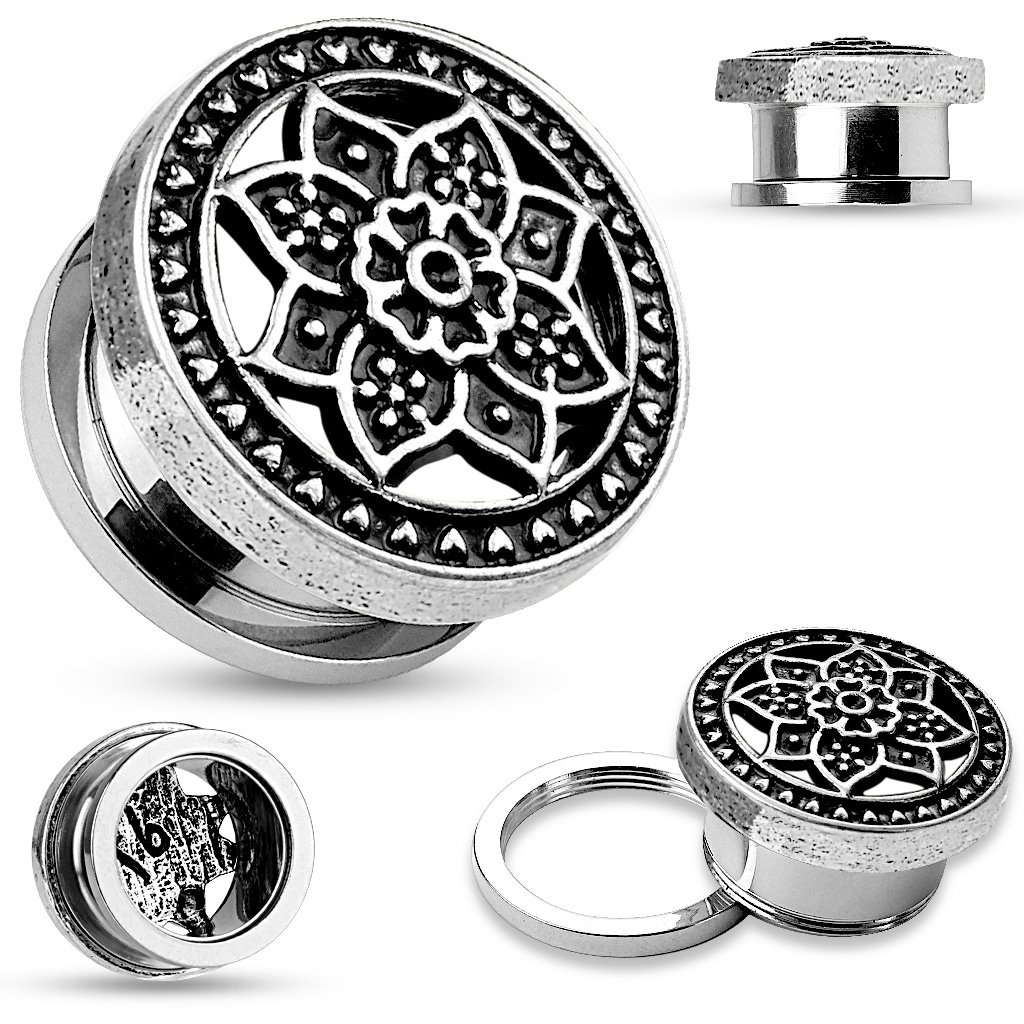 PAIR Surgical Steel Tunnels Plugs Gauges Celtic Flower Screw On 2g 0g 00g 1/2 inch (2g)