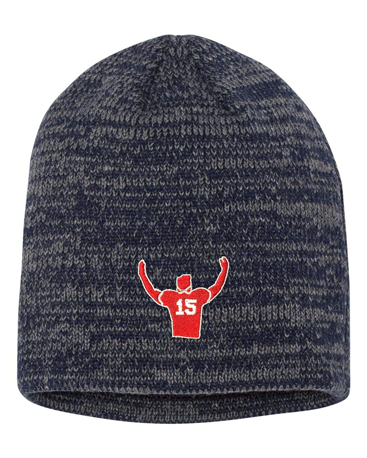 Go All Out Adult Mahomes Outline Embroidered Marled Knit Beanie Cap