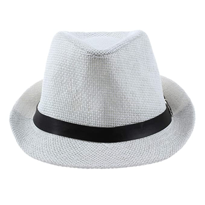 6d8f03228f818 Amazon.com: HYID Hat Boys Trilby Cap Straw Beach Hat with Belt White:  Clothing