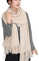 Wander Agio Women's Warm Long Scarves Winter Scarfs Pure Color Scarf Tassel
