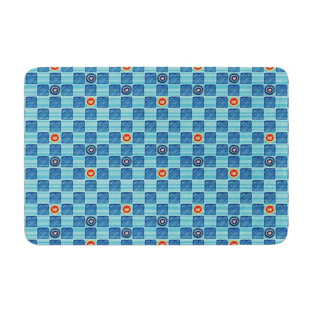 17 by 24 Kess InHouse Jane Smith Vintage Checkerboard Blue Navy Memory Foam Bath Mat