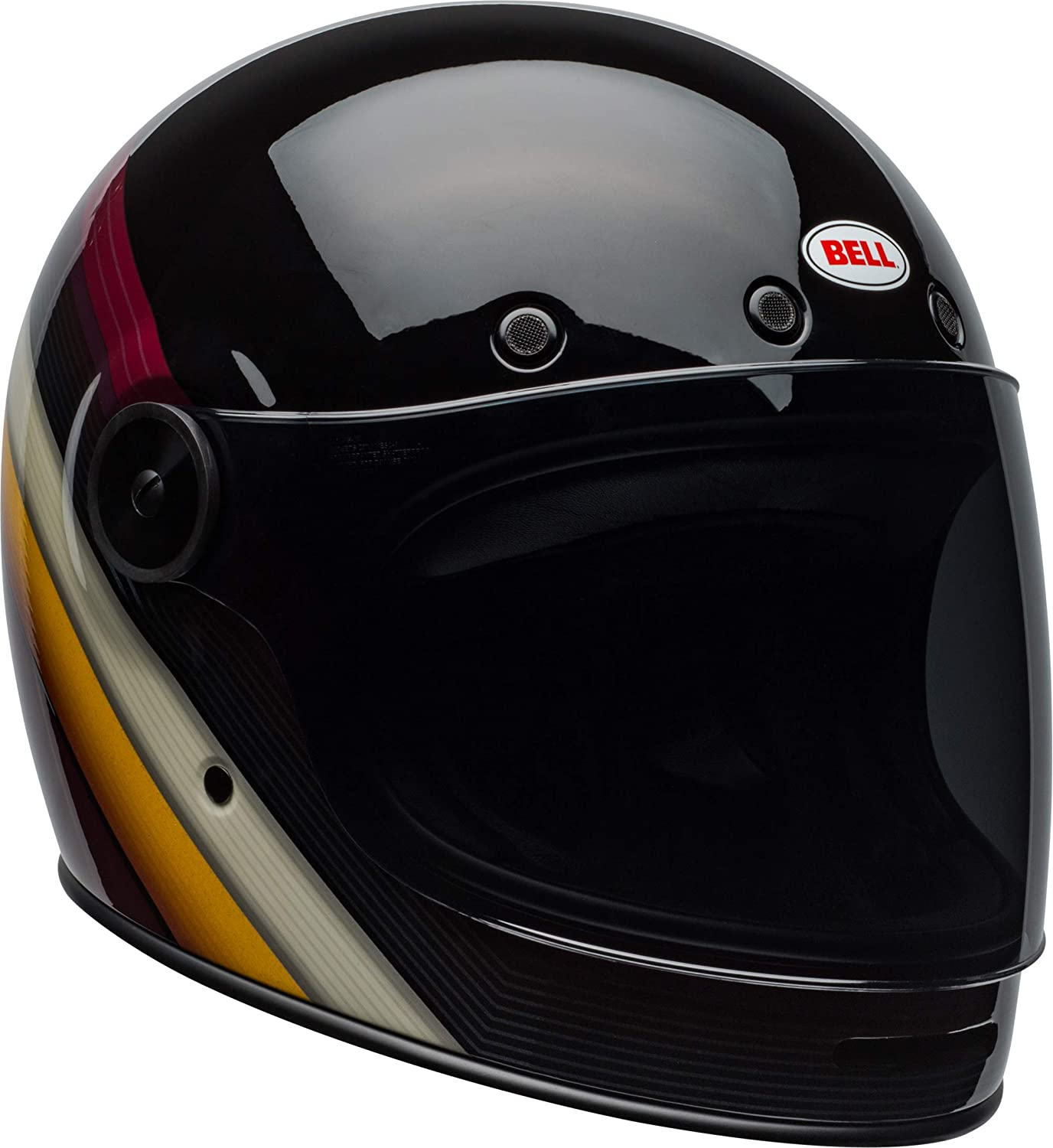 9a3668c2 Amazon.com: Bell Bullitt Full-Face Motorcycle Helmet (Burnout Gloss  Black/White/Maroon, X-Small): Automotive
