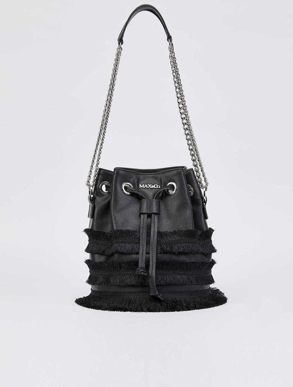 (マックスアンドコー) Max&Co フリンジトリムとチェーン付きバケットバッグ Women`s BUCKET BAG(並行輸入品) B07PGPXMPW ブラック One Size